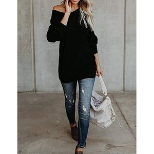 Sweaters - Oversized Knit Pullover Sweater